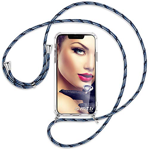mtb more energy® Handykette kompatibel mit Sony Xperia L2, L2 Dual SIM (5.5'') - blau gestreift - Smartphone Hülle zum Umhängen - Anti Shock Full TPU Hülle