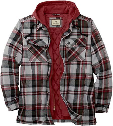 Legendary Whitetails Men's Maplewood Hooded Shirt Jacket, Windstorm Plaid, Large