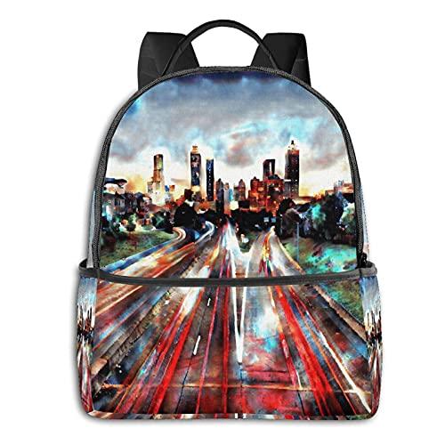 QQIAEJIA Mochila de poliéster de moda Atlanta Sunset All Seasons Unisex de gran capacidad Durable School Outdoor Daily Daypacks