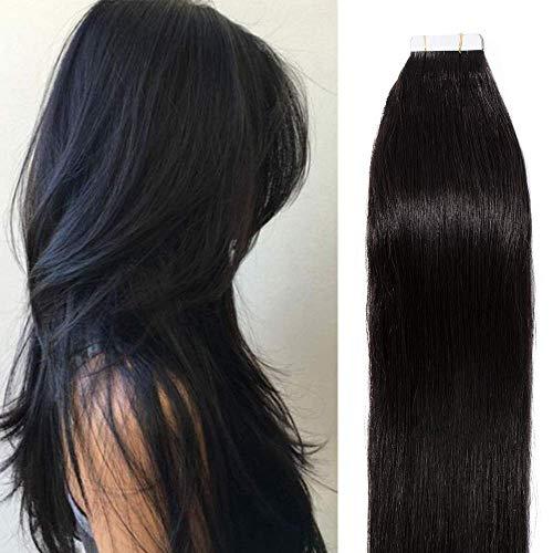 Extension Adhesive Naturel Noir 40 Pcs Rajout Cheveux Humain Bande Adhésive (#1B Noir Naturel, 55cm)