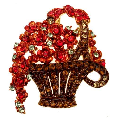 Acosta broches - rojo y cristales de Swarovski topacio - / diseño...