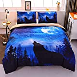 ENCOFT Blue wolfmoon Duvet Cover Sheet Sests Twin 2 Pieces Full/Queen Size 3 Pieces, Polyester Wolf Moon Comforter Cover Sets (Blue Wolf, Twin)