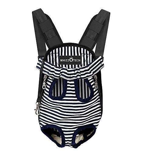 Whizzotech Pet Carrier Front Pack, Adjustable Pet Front Cat Dog Carrier Backpack Travel Bag, Legs Out, Easy-Fit for Traveling Hiking Camping for Small Medium Dogs, Size Medium, Stripe