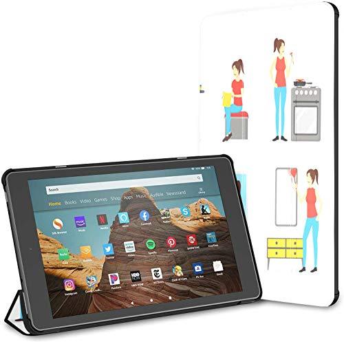 Estuche para el Trabajo doméstico Hardworking Fire HD 10 Tablet (9.a / 7.a generación, versión 2019/2017) Cubierta para Kindle Fire HD 10 Cubierta para Tableta Kindle Fire HD 10 Auto Wake/Sleep par