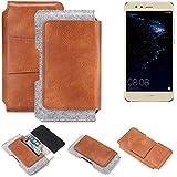 K-S-Trade Schutz Hülle Für Huawei P10 Lite Dual-SIM Gürteltasche Holster Gürtel Tasche Schutzhülle Handy Smartphone Tasche Handyhülle PU + Filz, Braun (1x)