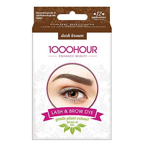 1000 Hour Augenbrauen- und Wimpernfarbe - sanfter Extraktpinsel im Set - dunkelbraun