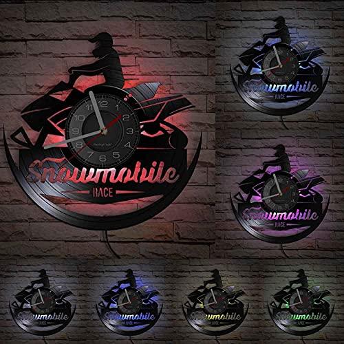 Wwbqcl Reloj de Pared de Carreras de Motos de Nieve Vinilo LP Registro artesanía Motocicleta máquina de Nieve Reloj Velocidad a lo Largo del Paseo Jinetes decoración Regalo con Led