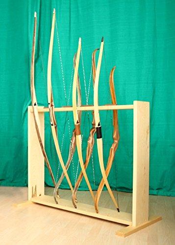Battle-Merchant Soporte para arco hecho a mano de madera para 8 arcos, arco largo y corto medieval LARP