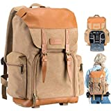 TARION Camera Bag Backpack Vintage Canvas Camera Case for DSLR Mirrorless SLR Cameras Lens Tripod Photography Men Women with Waterproof Raincover Khaki