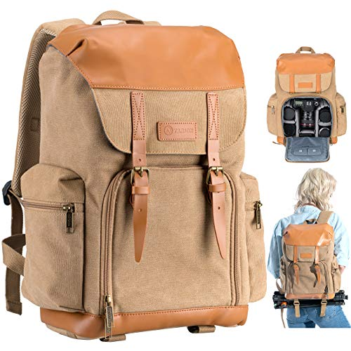 TARION Camera Backpack Canvas Camera Bag Photography Backpack for Women Men Photographer with Laptop Tripod Compartment Waterproof Rain Cover Retro DSLR SLR Mirrorless Camcorder Camera Bag Backpack