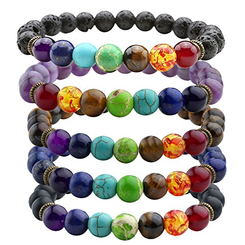 7 Chakras Gemstone Bracelet 8mm Lave Rock Stones Yoga Reiki Prayer Stone - Pack of 5