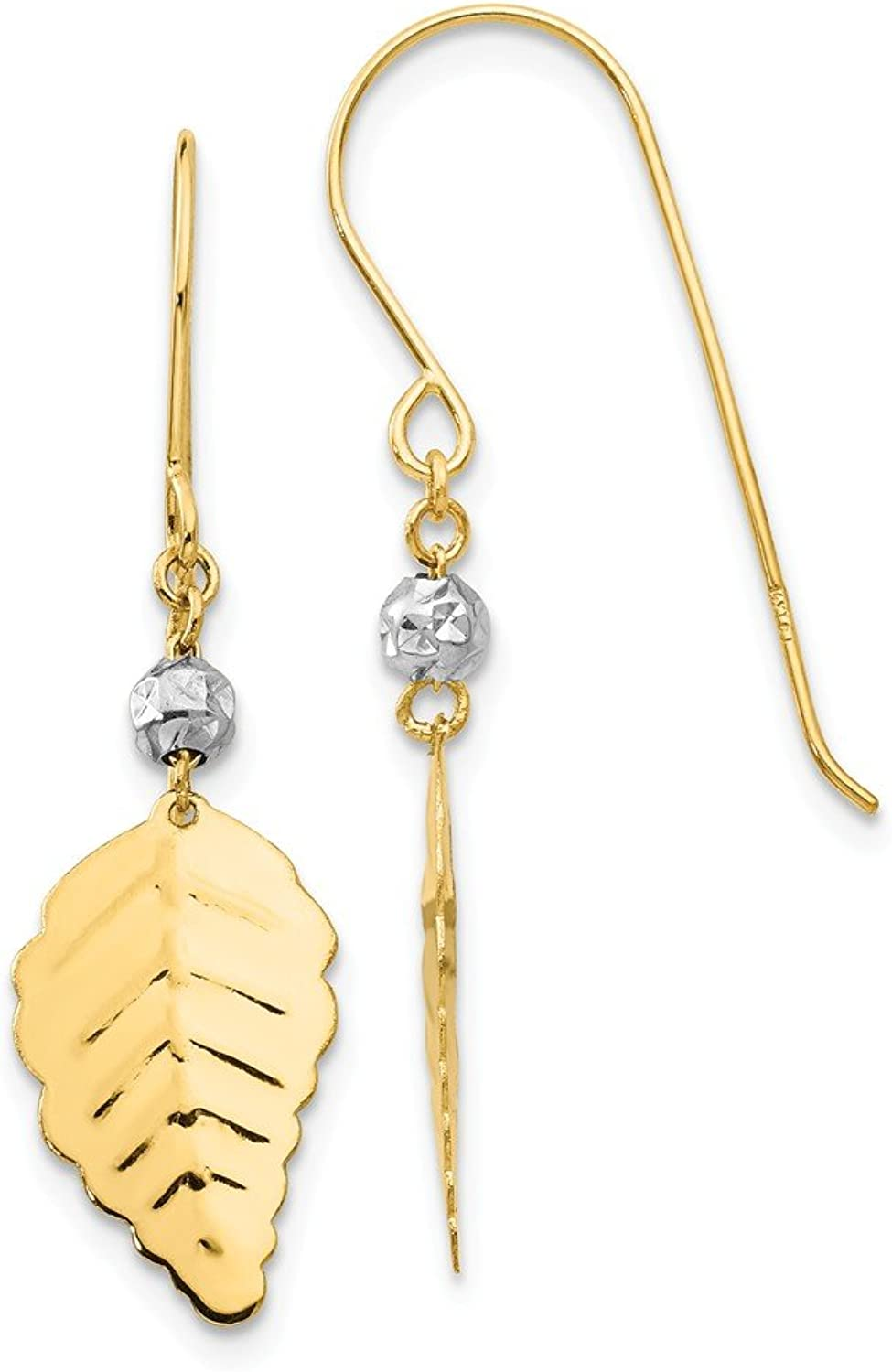 Beautiful White and yellow gold 14K Whiteandyellowgold 14K Two Tone Stamped Leaf Shepherd Hook Earrings