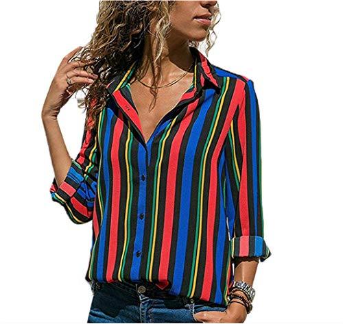 Camisas Mujer Blusa con Botones Camisetas Manga Larga Sexy Tops Rayas Cuello en V Low Cut Sexy Camisetas y Tops Camisas De Vestir