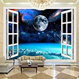 Msrahves fotomurales decorativos pared 3d Azul universo planeta paisaje 100X70CM Papel Pintado Pegamento Fotomurales Vista 3D Sala Living Oficina Dormitorio Foto Mural Pared 3D Fotomurales decorativos