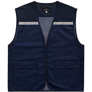 Superb Uniforms Outdoor vest jacket, 2 pockets, photographer jackets for  men, Safety vest jacket, Velcro adjuster, Mesh lining, Navy vest jacket,  Heavy duty YKK zipper, 100% Cotton Twill 240 GSM: Amazon.in: Industrial
