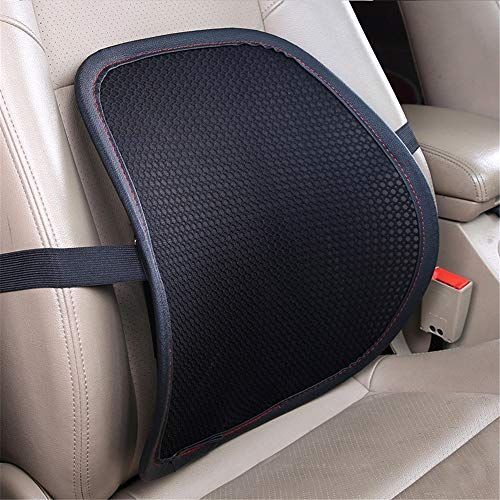 Joycaling Almohada lumbar de apoyo lumbar, cojín de espuma viscoelástica, respaldo ortopédico para asiento de coche, oficina, silla de ordenador, corrección de postura (color: negro2)
