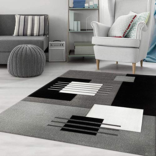 VIMODA Alfombra Moderna de diseño para el salón, a Cuadros con Efecto Tridimensional, en Blanco, Gris y Negro, Cuidado fácil, Maße:120 x 170 cm