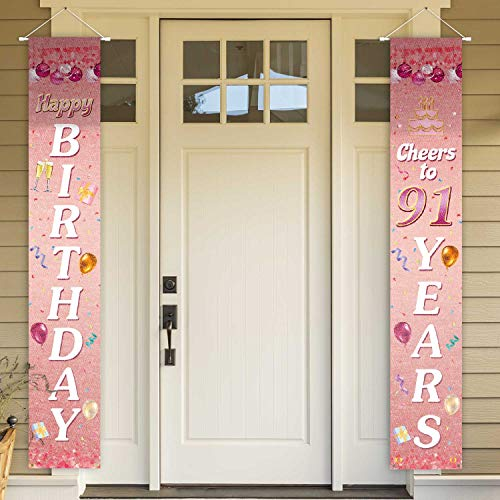 Happy 91st Birthday Pink Door Banners