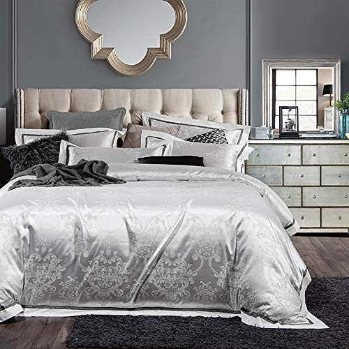 Parure de lit Adulte, Parure de lit 220X240 Adulte Satin Gris Housse de Couette 220 x240 Coton Blanc Housse de Couette pour Lit Parure de lit Taies d'oreiller Cotton Sati