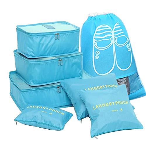 FunYoung Kleidertaschen-Set 7-teilig Reisetasche in Koffer Wäschebeutel Schuhbeutel Kosmetik Aufbewahrungstasche Farbwahl (Blau)