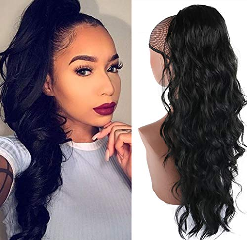 CHOOH Long Body Wavy Drawstring Ponytail Clip in Ponytail Extension Synthetic wig Black Curly Wavy Pony Tail Hairpiece for Women 24 Inch (1B)