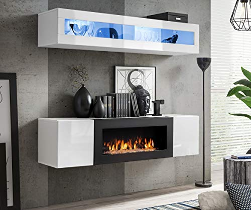Moderner Wohnwand Morgan 2 Anbauwand Schrankwand mit Bio Kamin Hängewand 21 (Weiß)