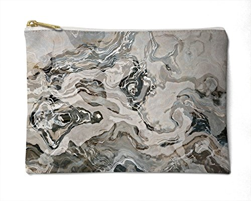 Makeup Bag or Pencil Case with Abstract Art in Grey, White and Brown, Geologic