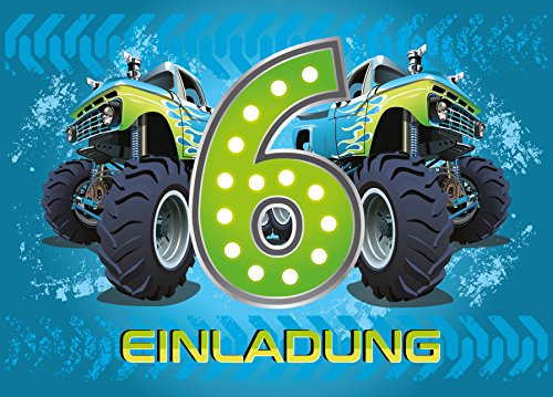 12 Einladungskarten 6. Kindergeburtstag Jungen Monstertruck sechste Geburtstag Jungs Geburtstagseinladungen Einladungen Kartenset Monster-Truck Auto