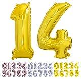 Globo numero 14 o 41 dorado. Globos Gigante números 1 4 del 0 al 99 fiestas cumpleaños decoración fiesta aniversario boda tamaño grande 70 cm con accesorio para inflar aire o helio (14/41 Oro)