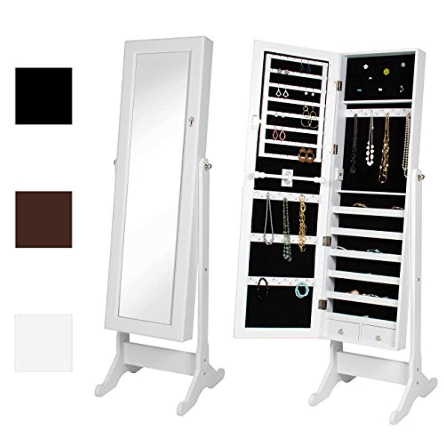 Best Choice Products Full Length Tilting Mirrored Cabinet Jewelry Armoire w/Velvet Lined Interior, 6 Shelves, Stand Rings, Necklaces Hooks, Bracelet Rod, Cubbies, Lock and Key - White