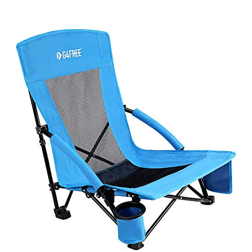 G4Free Low Sling Folding Beach Chair Camping Chairs Compact Concert Lumbar Back Support Festival Chair with Carry Bag(Blue)
