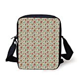 Asian,Flower Pattern with Eastern Leaves and Flowers Ancient Classical Design Decorative,Vermilion Seafoam Beige Print Kids Crossbody Messenger Bag Purse