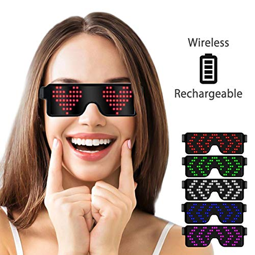 LumiSyne Drahtlose LED Brille Party Dekoration USB Wiederaufladbare 11 Dynamische Muster Leuchtende Party Brille Party Bars Geburtstag Halloween Karneval