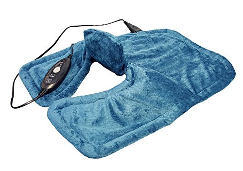 Hydas Nacken und Schulter-Heizkissen elektrisch und extra lang, gezielte Wärme für Nackenbereich, Schultern und Rücken, besonders weicher Stoff, inkl. Überhitzungsschutz (100 W, 230V)