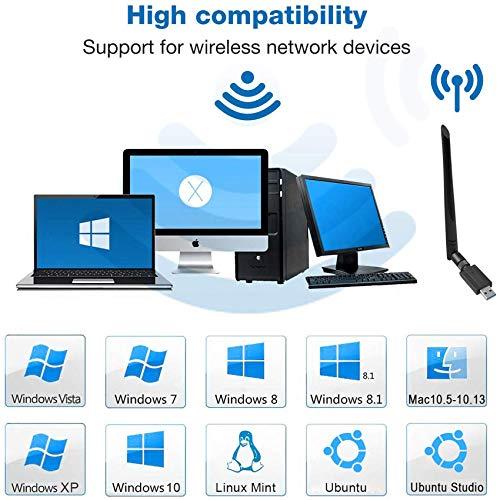 EasyULT WLAN Stick, USB 3.0 WLAN Adapter 1200Mbps WiFi Dongle High Speed 802.11ac 5dBi Dualband 2.4/5 GHz Wireless Netzwerk Adapter Antenne WiFi Empfänger für Windows/Mac OS/Linux/Desktop/PC/Laptop