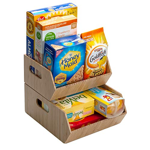 MobileVision XL Bamboo Storage Bins for Pantry & Kitchen Cabinet Organizer Multi-Purpose 2 PC Stackable Set Larger Bins for Potatoes Onions Packaged Goods & More