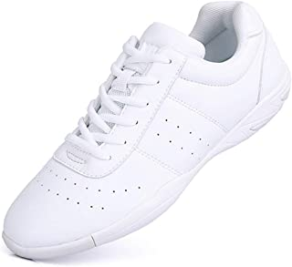 Mfreely Cheer Shoes for Girls White Cheerleading Athletic Dance Shoes Flats Tennis Walking Sneakers for Women