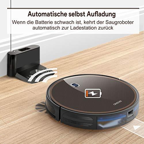 ONSON Saugroboter, Starke Saugkraft 2000Pa Staubsauger Roboter,Abgrenzungsstreifen inklusive,Selbstaufladender Roboterstaubsauger, Intelligente Navigation für Tierhaare, Teppiche und Hartböden - 5