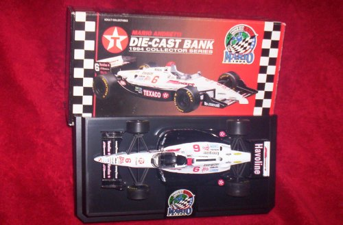 MARIO ANDRETTI DIE-CAST BANK 1994 COLLECTOR SERIES 1/24 SCALE LOCKING COIN BANK