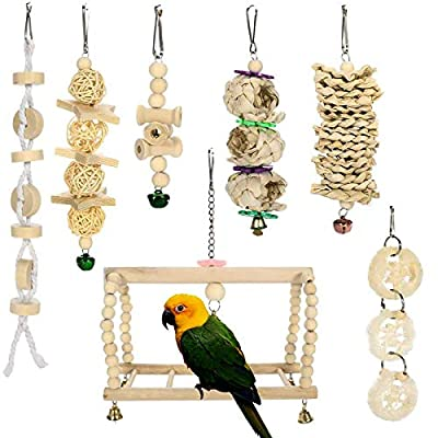 Inscape Data 7 Packs Bird Swing Toys, Natural Wood Bird Parrot Swing Chewing HangingToys Bird Cage Toys for Small Parakeets, Cockatiels, Budgies, Conures, Love Birds, Finches