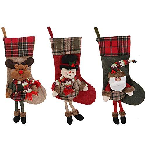 Christmas UK Grande Calza di Natale con Decorazione di Babbo Natale – 48 cm con Dettagli Scozzesi Babbo Natale