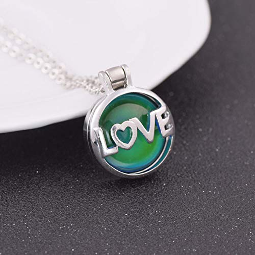 SALAN Love Necklace Changing Color Mood Necklace Feeling Emotion Temperature Necklace Round Nice Jewelry