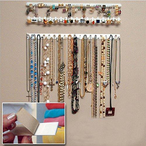 Set von 9 selbstklebenden Hängeleisten mit Haken zum Aufhängen von Schmuck und Accessoires