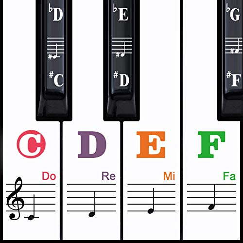 Piano Keyboard Stickers for 88/61/54/49/37 Key, Removable Piano Key Stickers for Kids, Bonus a Piano Chords Chart