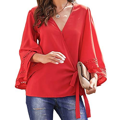 cxzas852 2020 Loose Summer Shirt Frauen Einfarbig Sexy V-Ausschnitt Ausgestellte ÄRmel Spitze Stitching Bluse Casual Tops