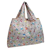 allydrew Large Foldable Tote Nylon Reusable Grocery Bag, Gray French Bulldogs