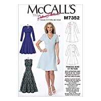 McCall's Patterns M7352 Misses' Jewel or V-Neck Fit and Flare Dresses, Size (6-8-10)-(12-14-16)-(18-20-22) by McCall's Patterns
