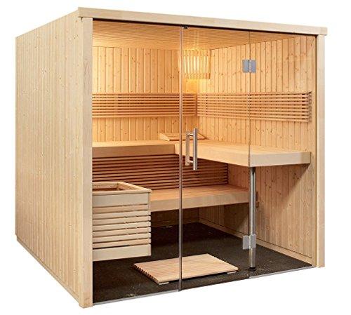 Sauna 214 x 210 x 201 cm Panorama mit Glasfront Harvia Edelstahl Bio Saunaofen Feuchtefühler