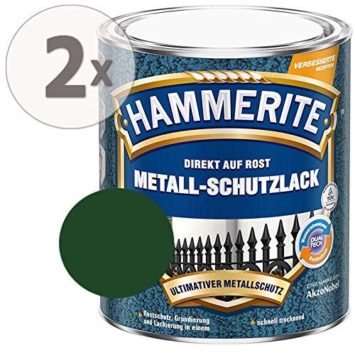 Hammerite Metall Schutzlack Hammerschlag-Effekt Rostschutz dunkelgrün Sparpaket, 2 x 750ml