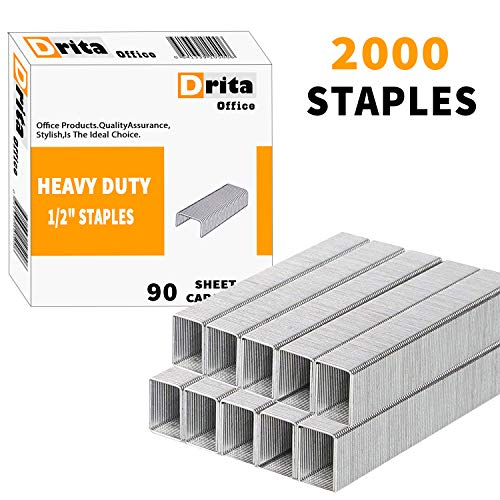 """Drita Staples, Heavy Duty, 2000 Staples, 100 Sheet Capacity, 1/2"""" Length, 23/13, Staples for Heavy Duty Staplers, Office Staples, Desk Staples, Big Staples, Paper Staple, Large Staples"""
